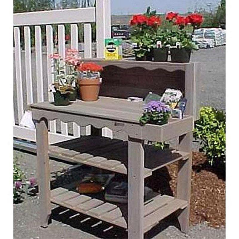 Outdoor Cedar Wood Potting Bench Bakers Rack Garden Storage Table in Green