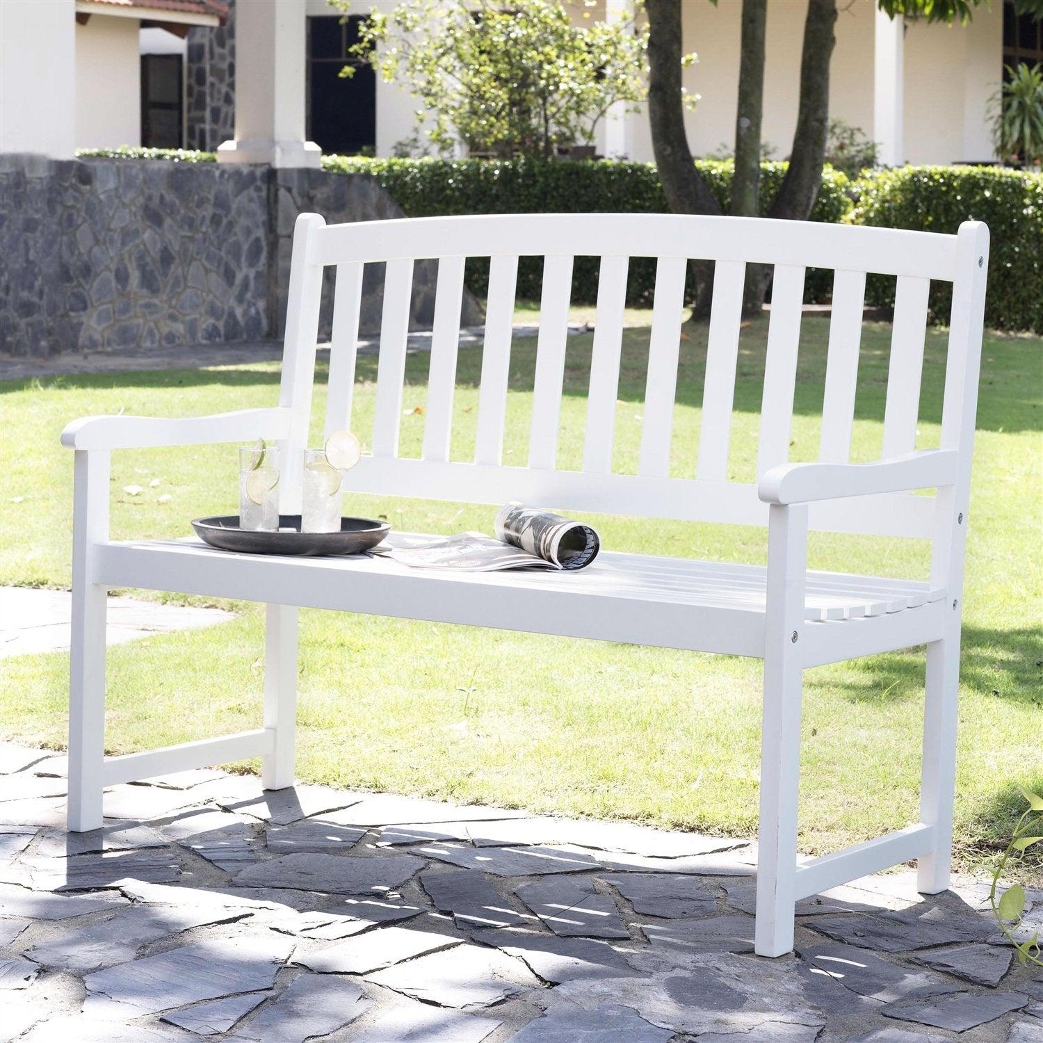5-Ft Wood Garden Bench with Curved Slat Back and Armrests in White