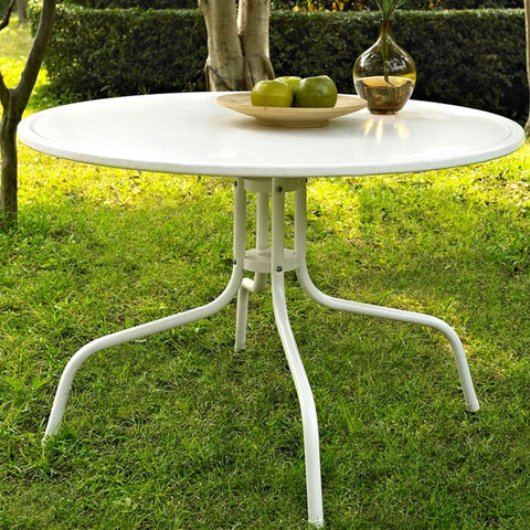 Round Patio Dining Table in White Outdoor UV Resistant Metal