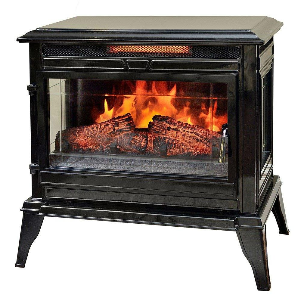 Black Portable Electric Fireplace Stove Infrared Heater