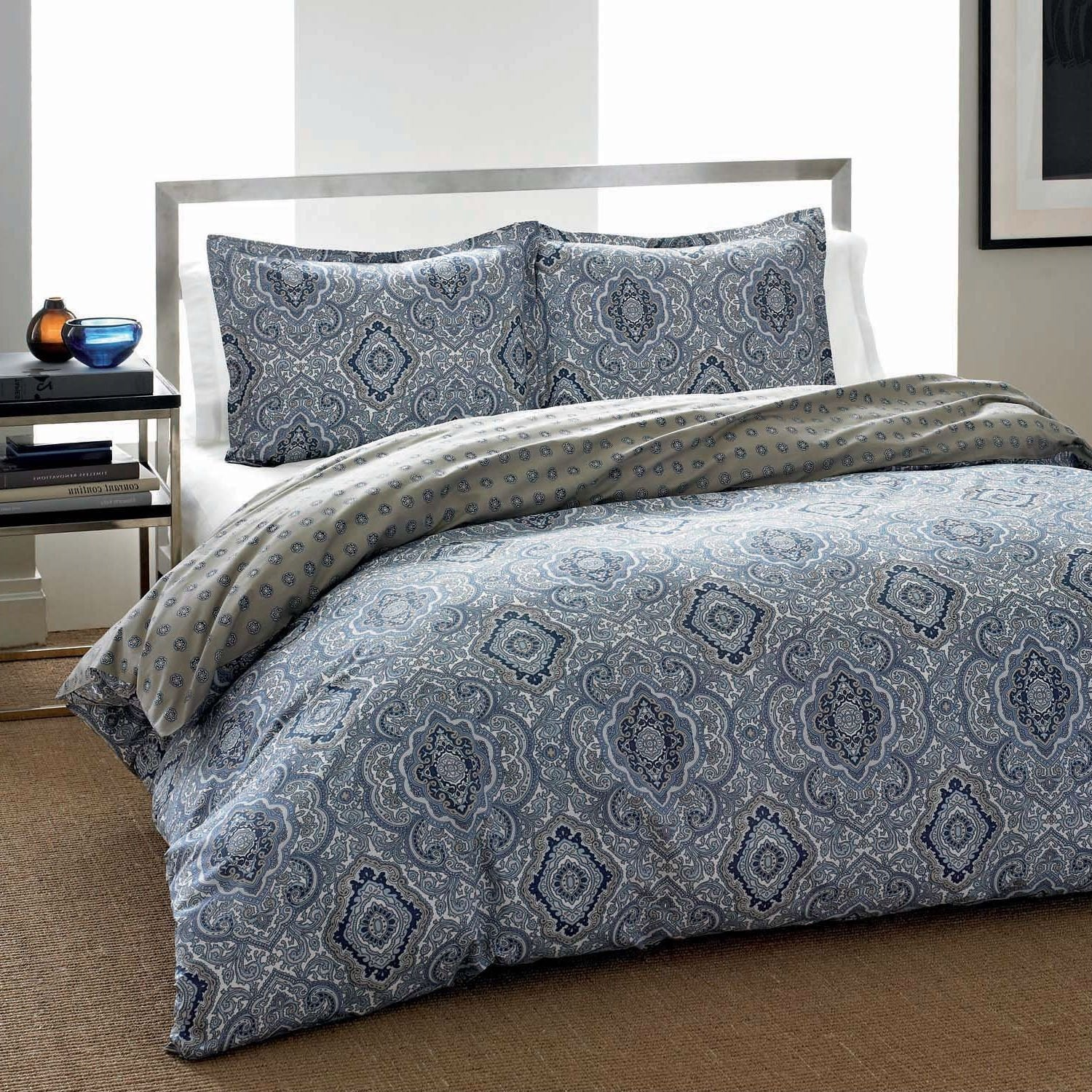 King 3-Piece Cotton Comforter Set with Blue Grey Damask Pattern