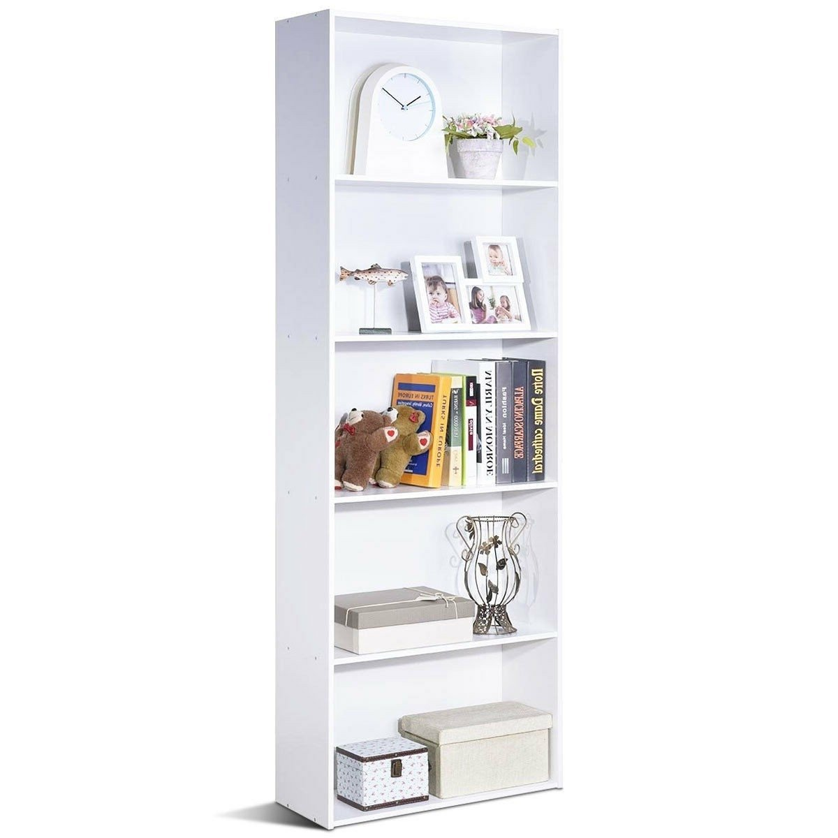 Modern 5-Tier Bookcase Storage Shelf in White Wood Finish