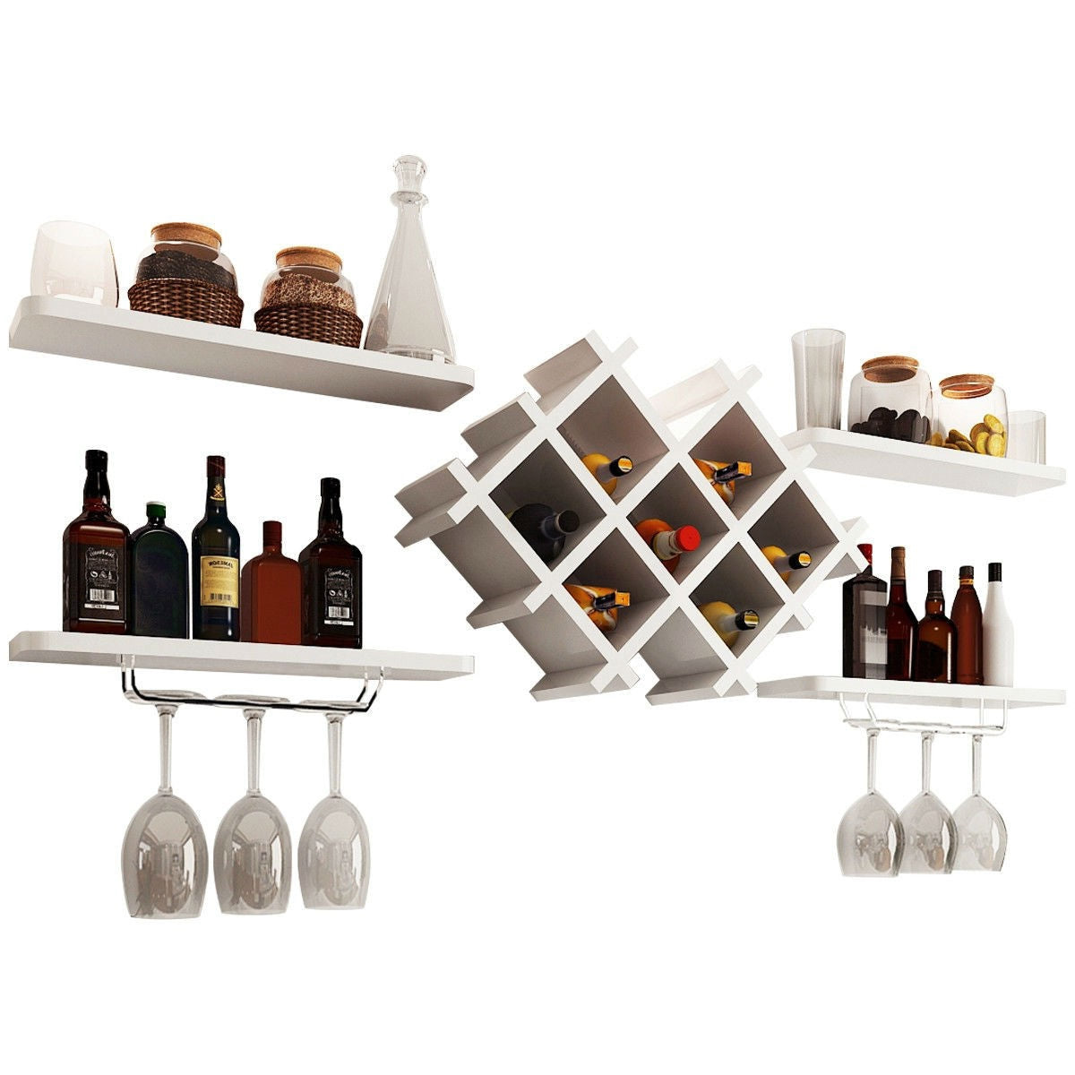 White 5 Piece Wall Mounted Wine Rack Set with Storage Shelves