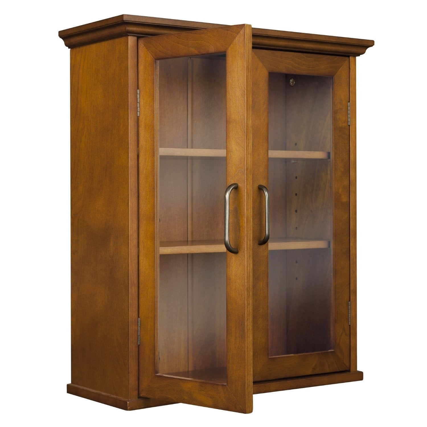 Oak Finish Bathroom Wall Cabinet with Glass  2-Doors & Shelves
