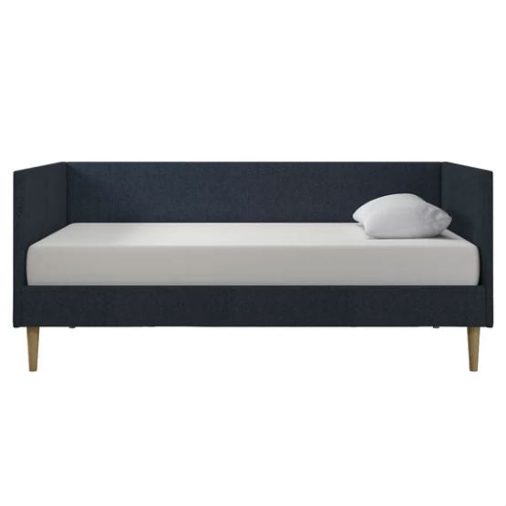 Twin Mid-Century Modern Dark Blue Linen Upholstered Daybed