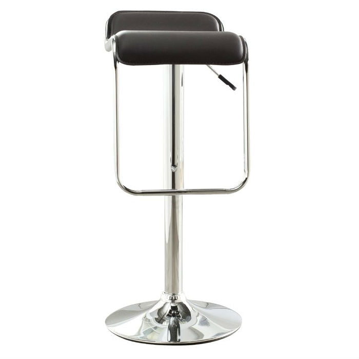 Modern Adjustable Height Bar Stool with Brown Faux Leather Swivel  Seat