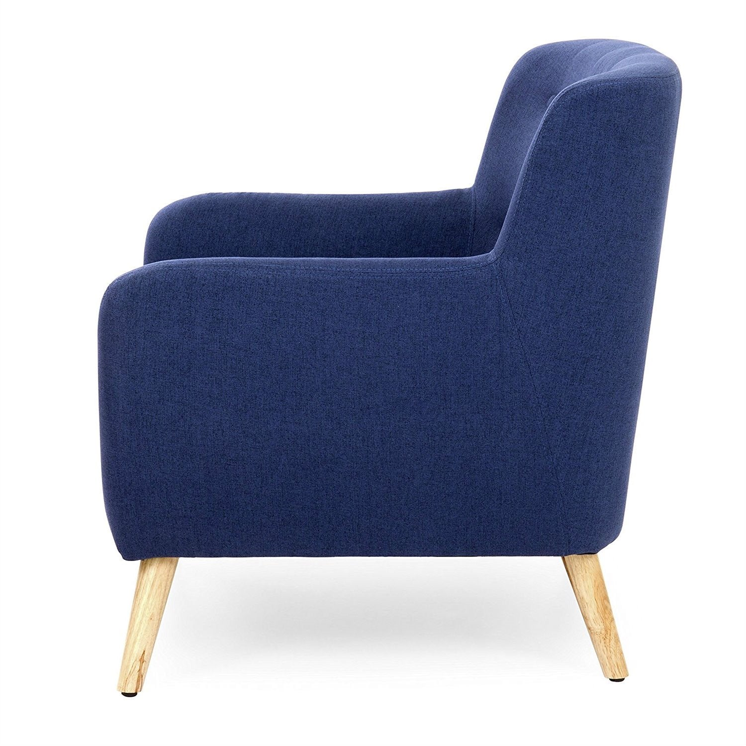 Modern Dark Blue Linen Upholstered Tufted Armchair w/Wood Legs