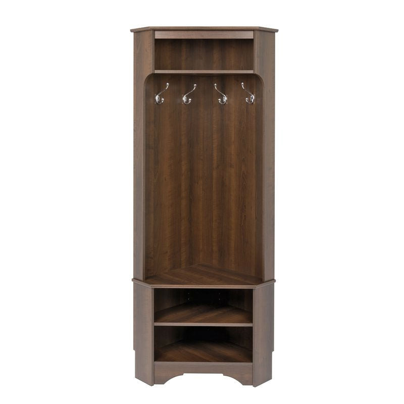Tall Sturdy Entryway Corner Hall Tree Dark Brown