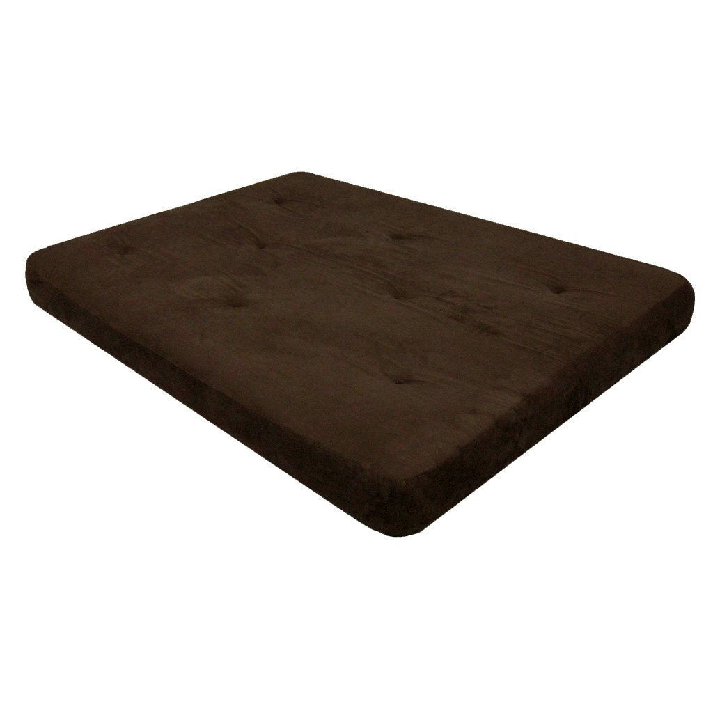 Full size 6-inch Thick Futon Mattress with Chocolate Brown Cover