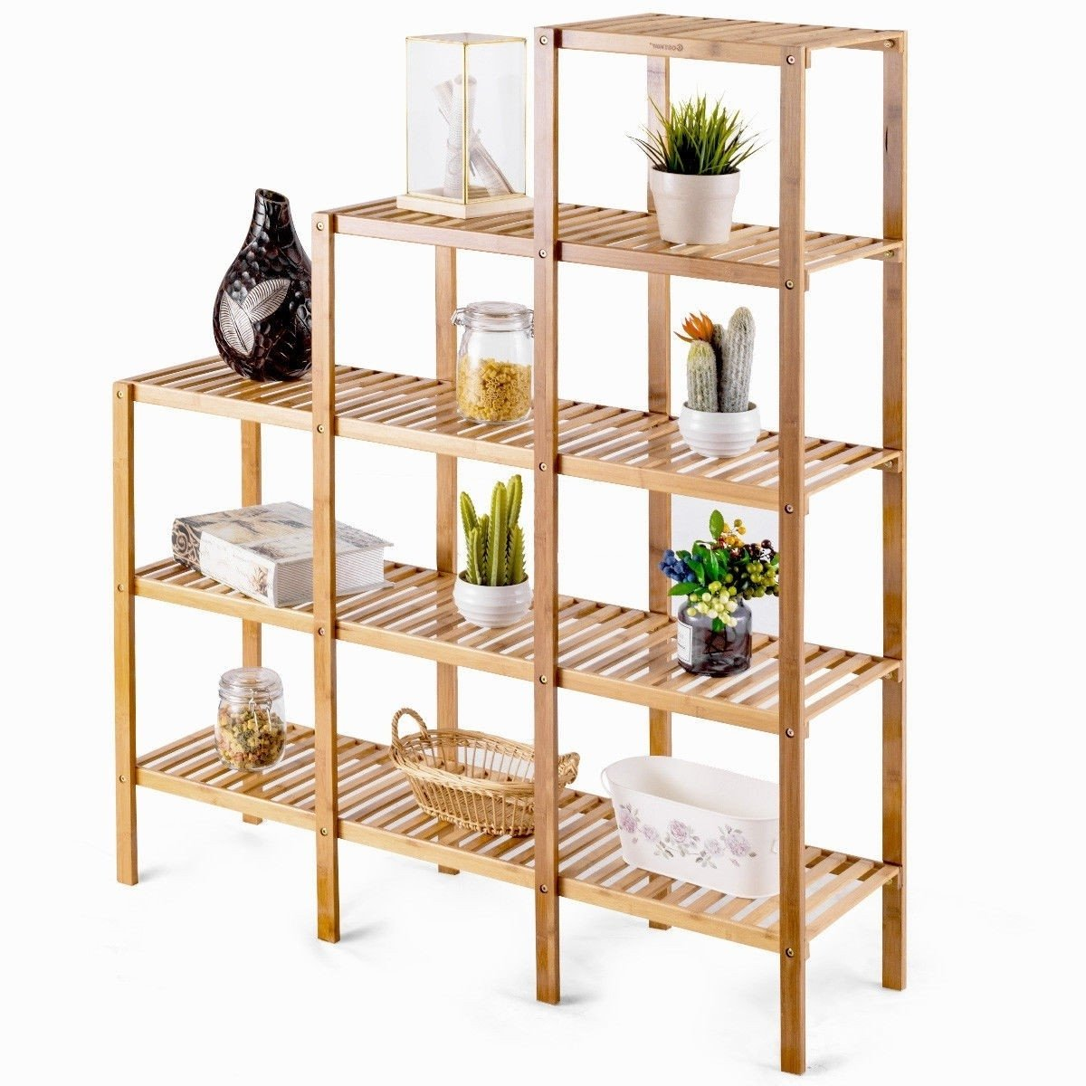 Bamboo Wood 5-Tier Versatile Bookcase Plant Stand Storage Rack