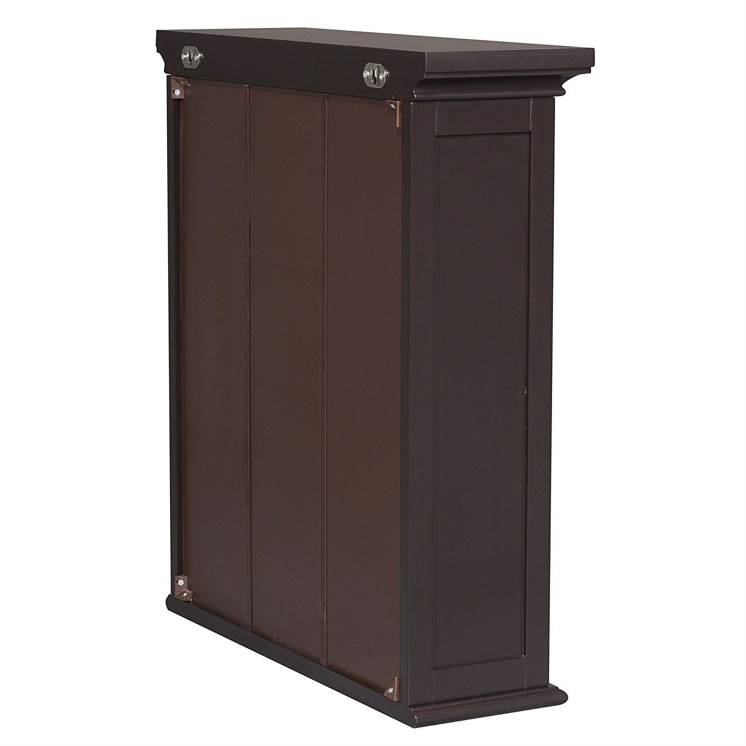 Dark Espresso 2-Door Bathroom Wall Cabinet with Open Shelf
