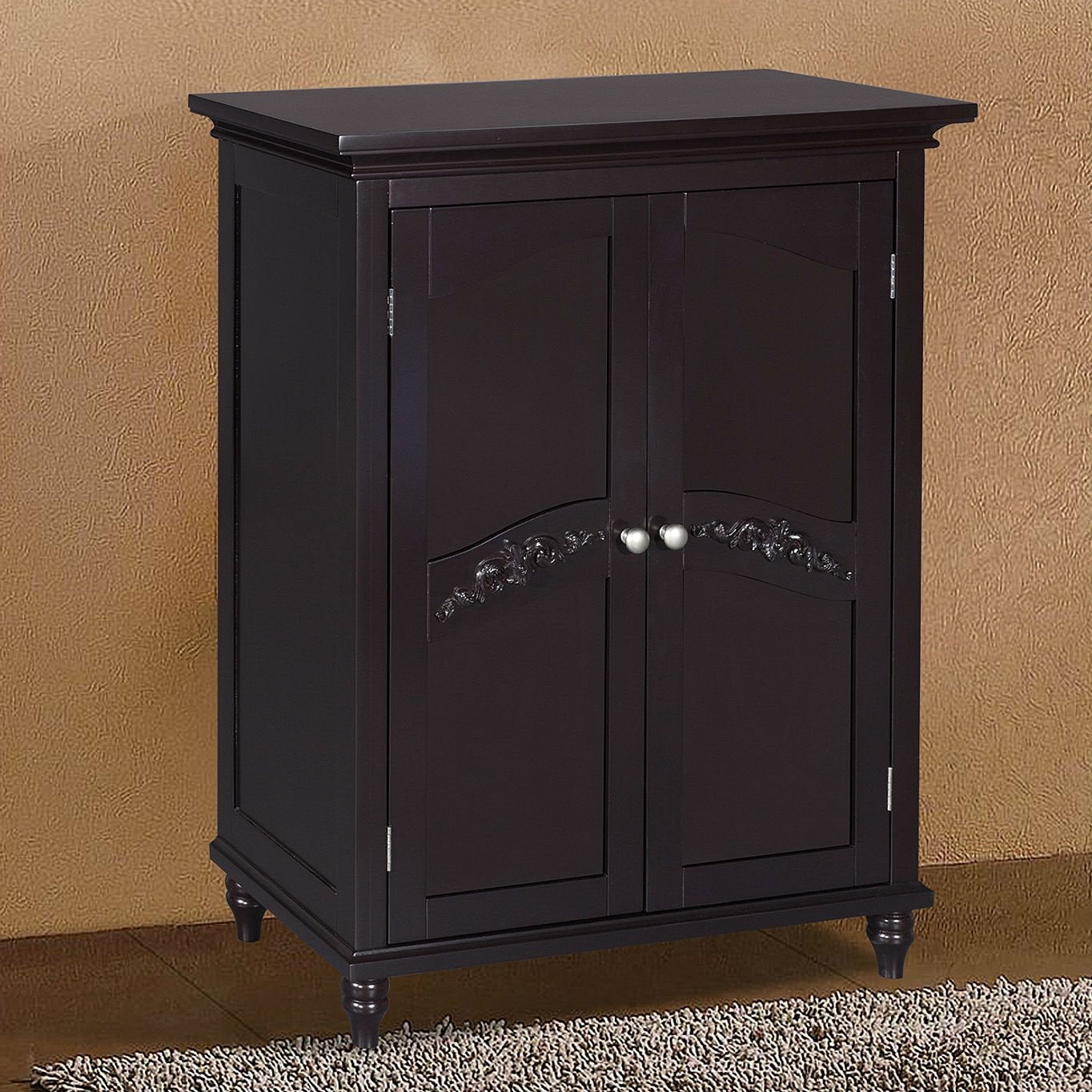 Dark Espresso Wood Bathroom Floor Cabinet with Engraved Doors