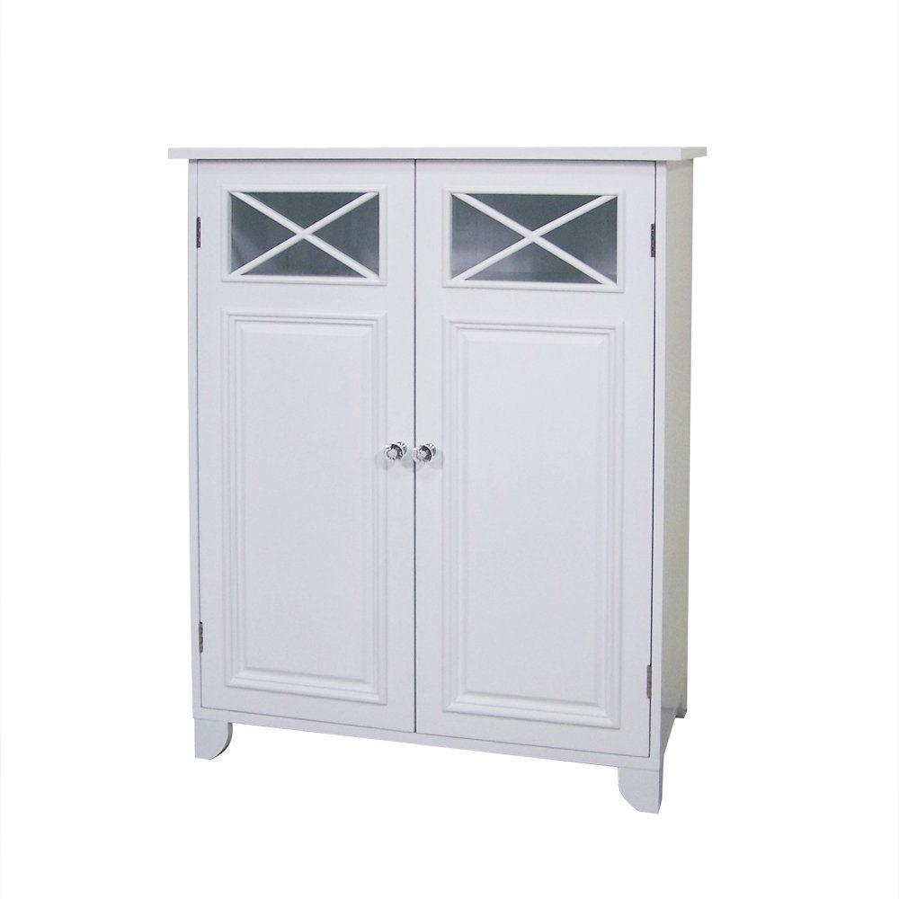 White 2-Door Bathroom Floor Cabinet with Adjustable Storage Shelf