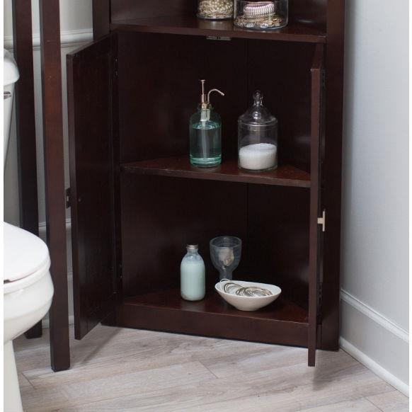 Espresso Corner Bathroom Linen Cabinet with Shelves