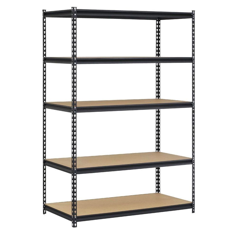 Heavy Duty Black Metal Storage Rack Shelving Unit with 5 Adjustable Shelves