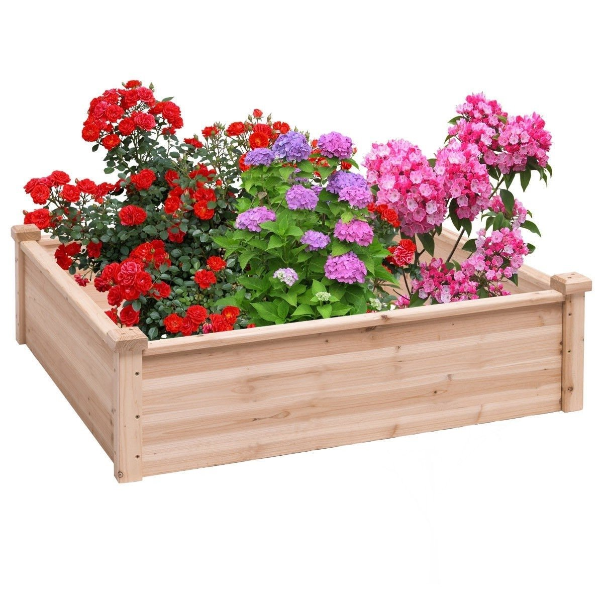 Solid Fir Wood 3.3 ft x 3.3 ft Raised Garden Bed Planter Box