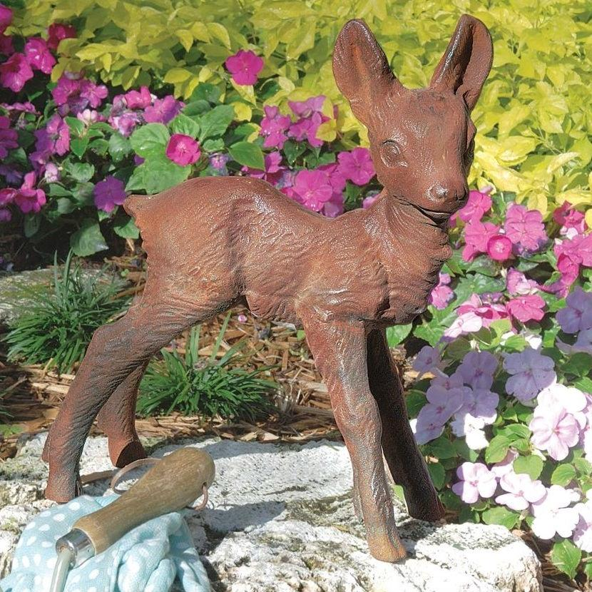 Baby Deer Fawn Brown Metal Outdoor Garden Statue