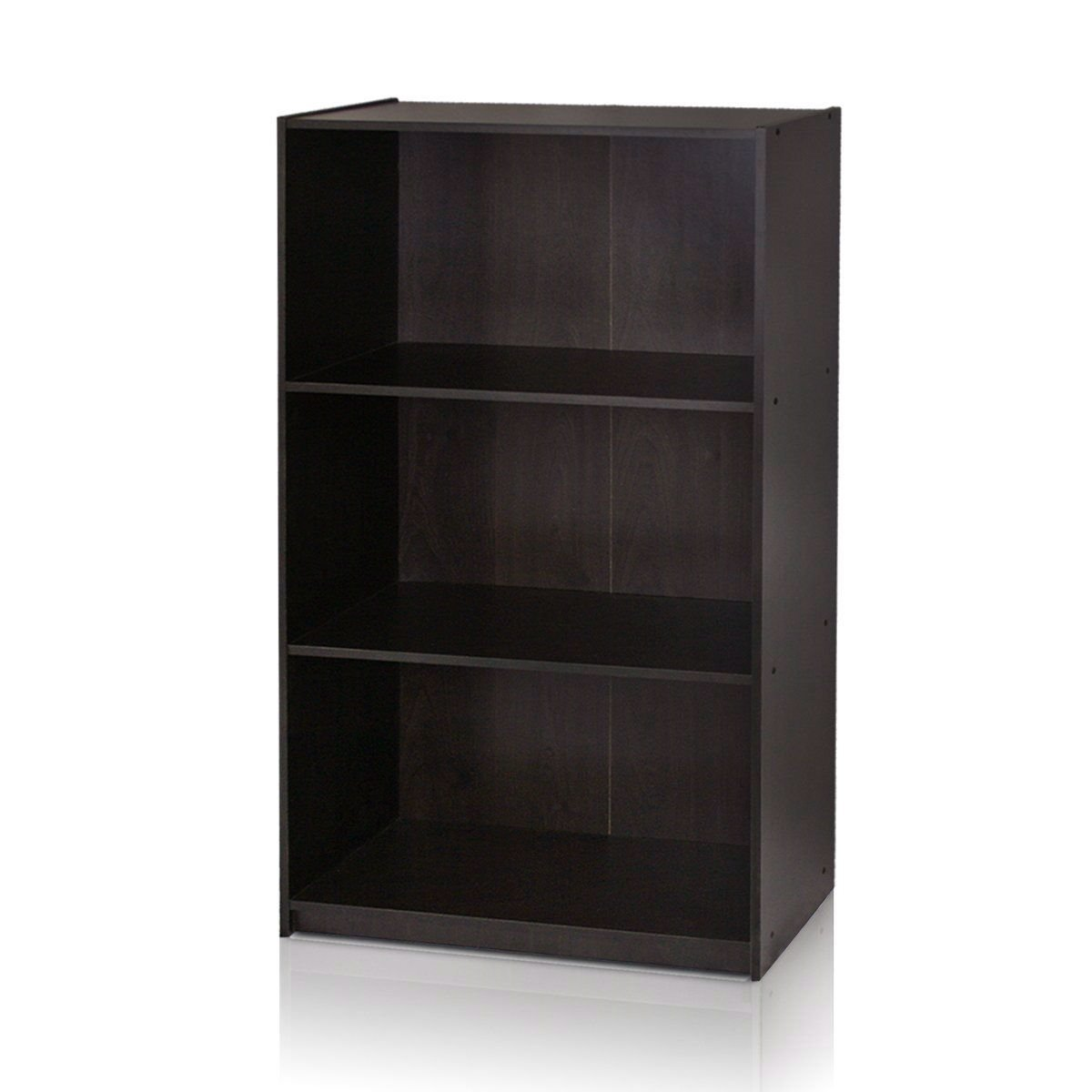 Modern 3-Shelf Bookcase in Espresso Wood Finish