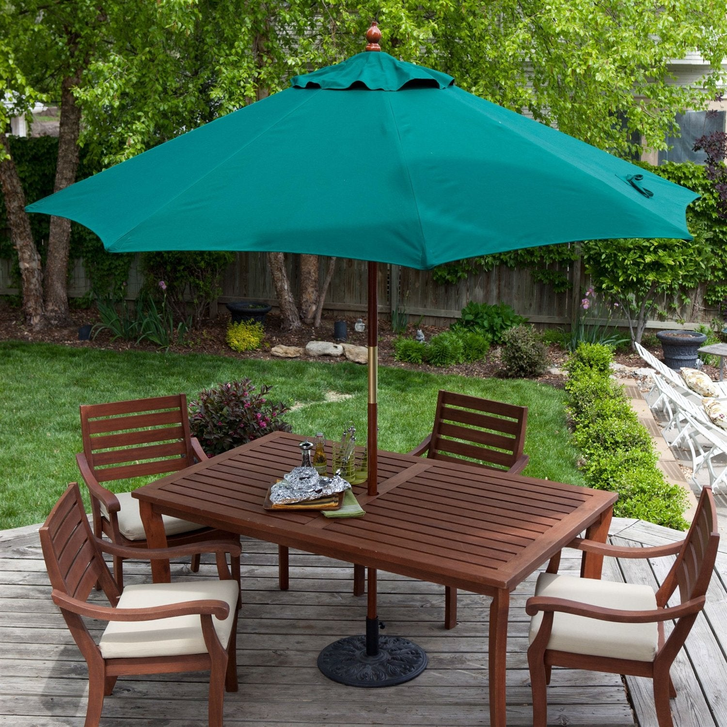 Commercial-Grade 9-Ft Patio Umbrella with Forest Green Sunbrella Canopy
