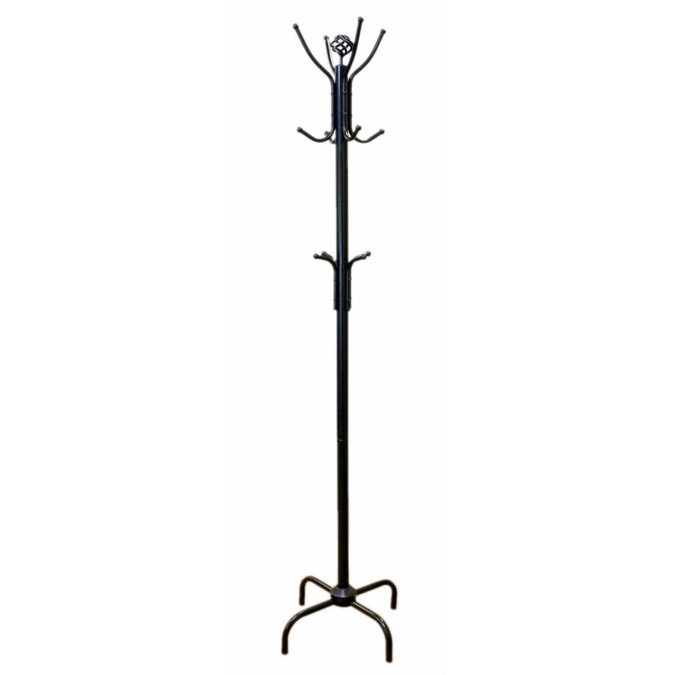 Two Tier Black Metal Coat Rack Hat Rack For Stylish Entryway Storage