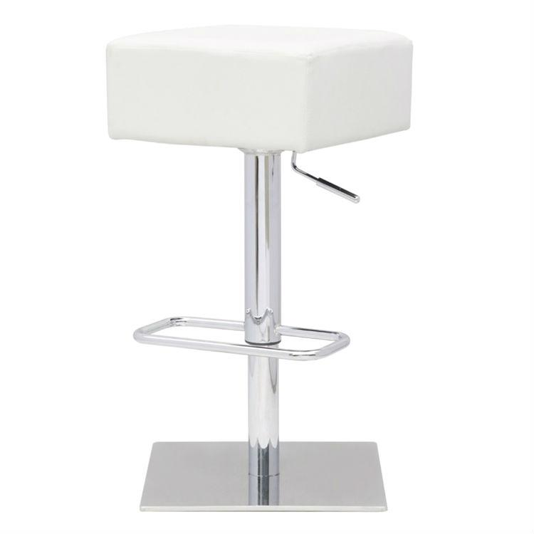 Set of 2 -Backless Swivel Adj. Height Barstools w/ White Faux Leather