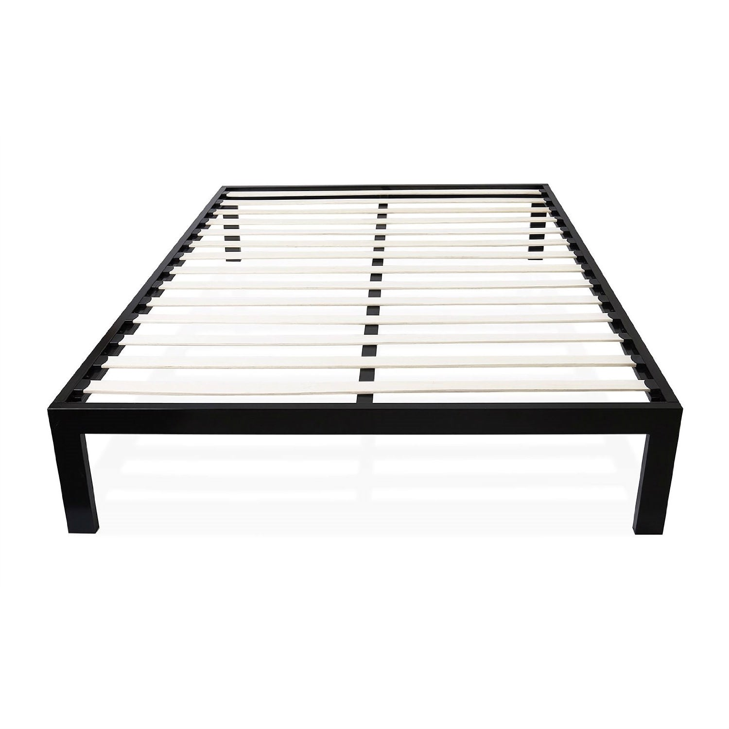Full size Simple Black Metal Bed Frame Platform with Wooden Slats