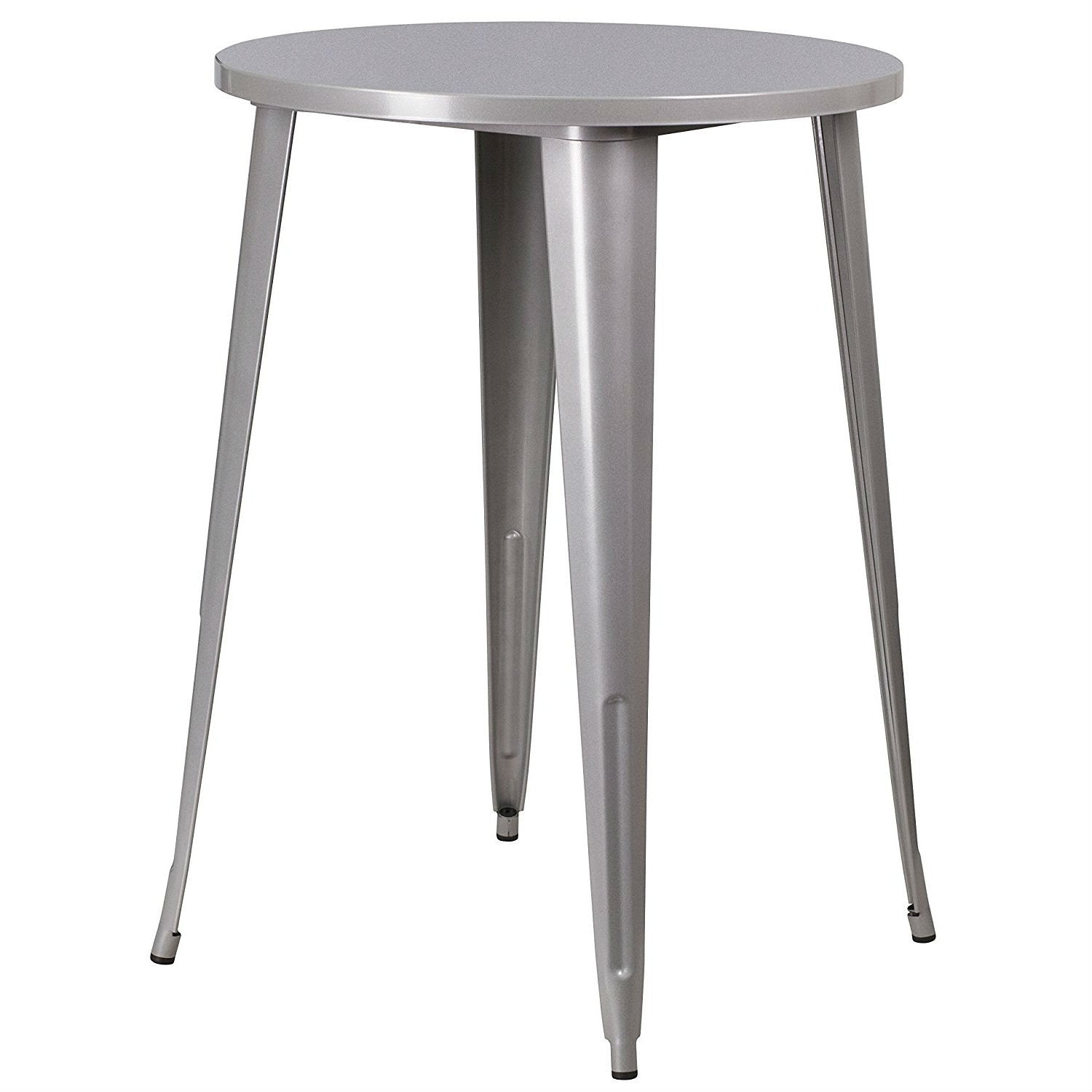 Outdoor 30-inch Round Metal Cafe Bar Patio Table in Silver