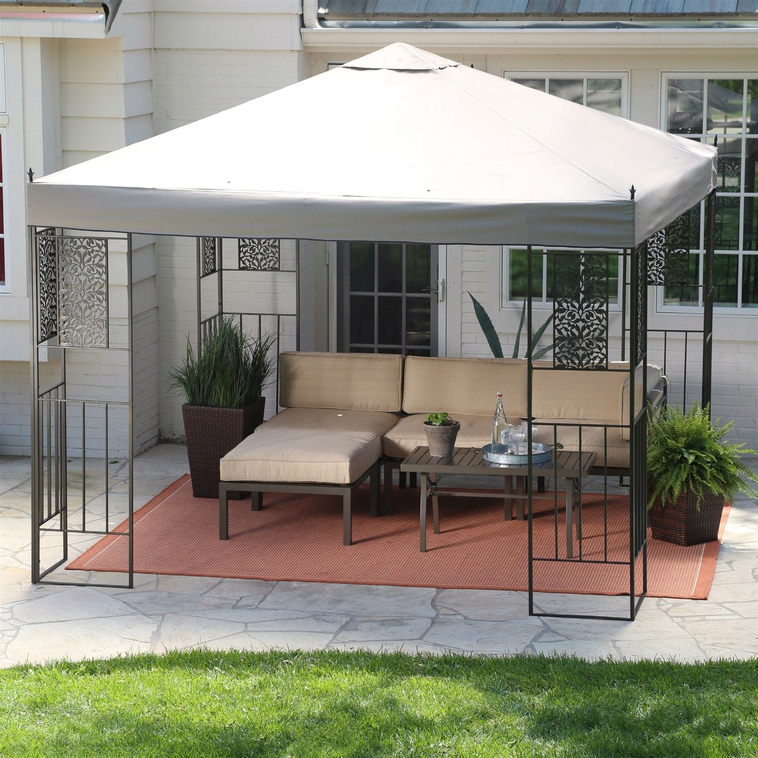10-ft x 10-ft Backyard Patio Garden Gazebo w/Steel Frame & Vented Canopy