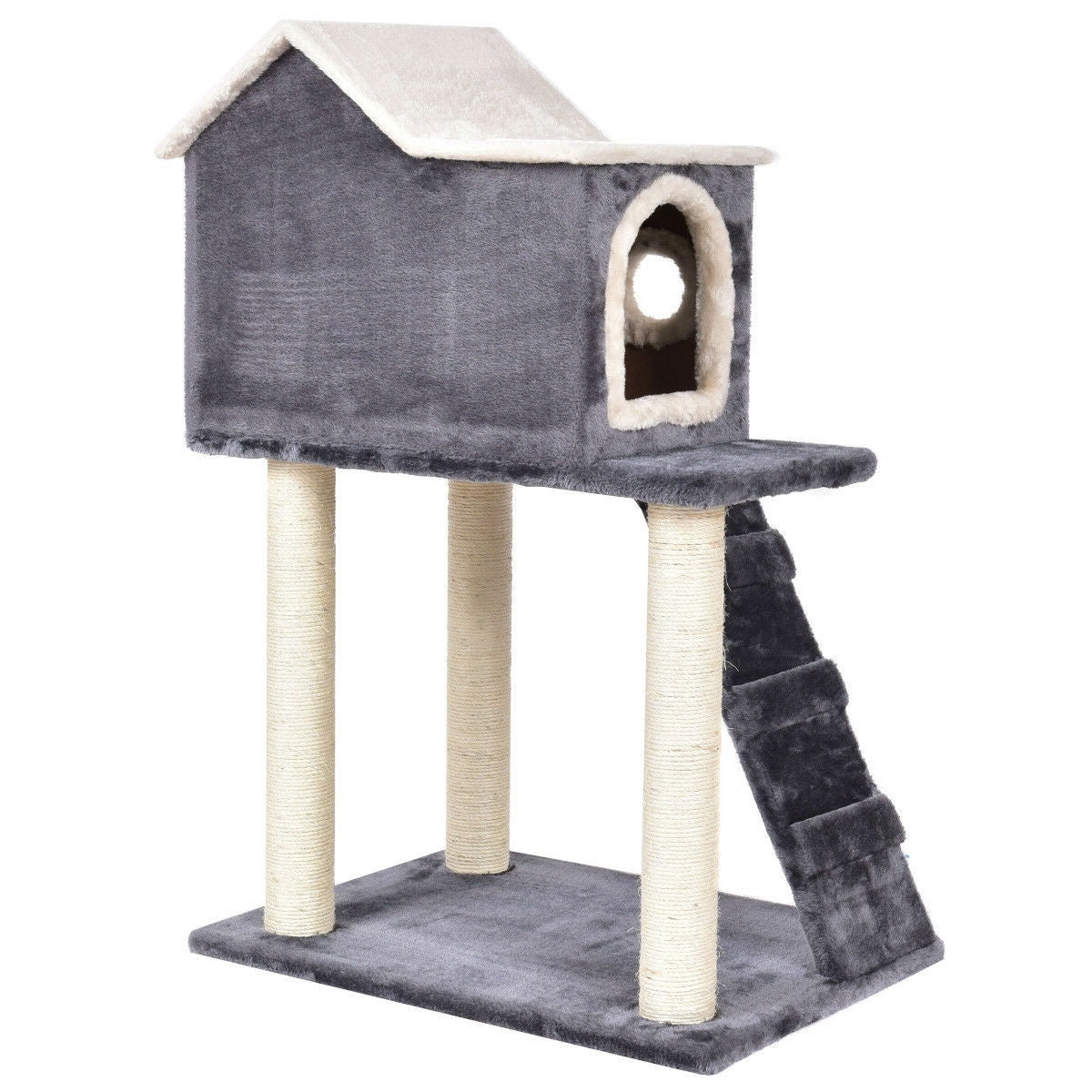Gray 36 Inch Tower Condo Scratching Post Ladder Cat Tree House