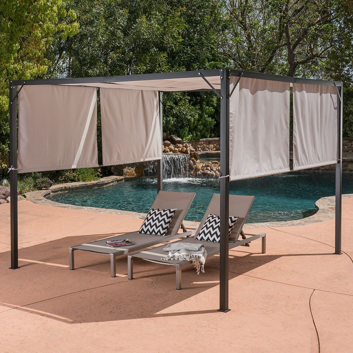 Heavy Duty Steel Frame Outdoor Gazebo Pergola with Beige Fabric Sun Shade