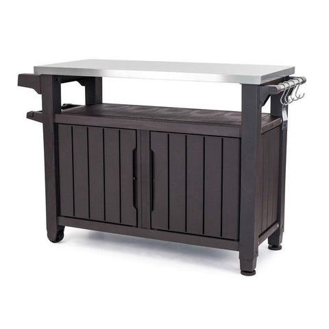 Outdoor Grill Party Caster Bar Serving Cart with Storage Dark Brown