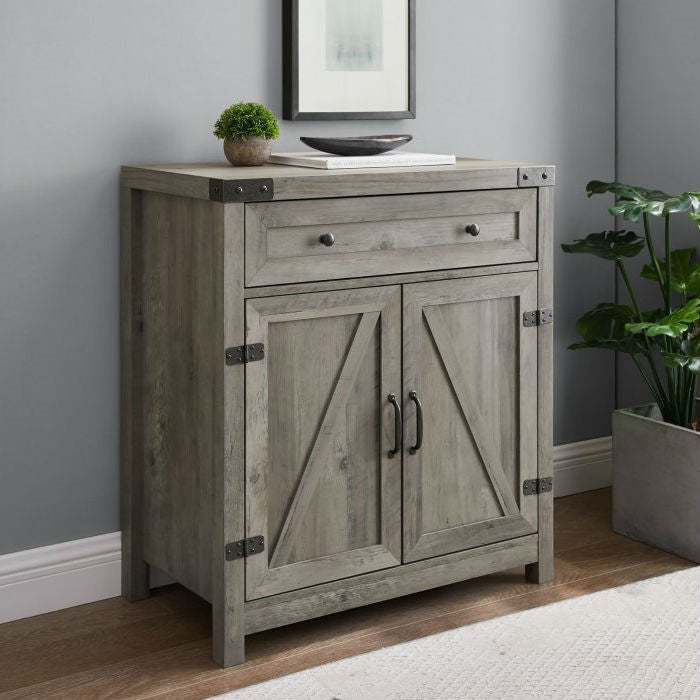 Rustic Farmhouse Barn Door Accent Storage Cabinet Grey Wash