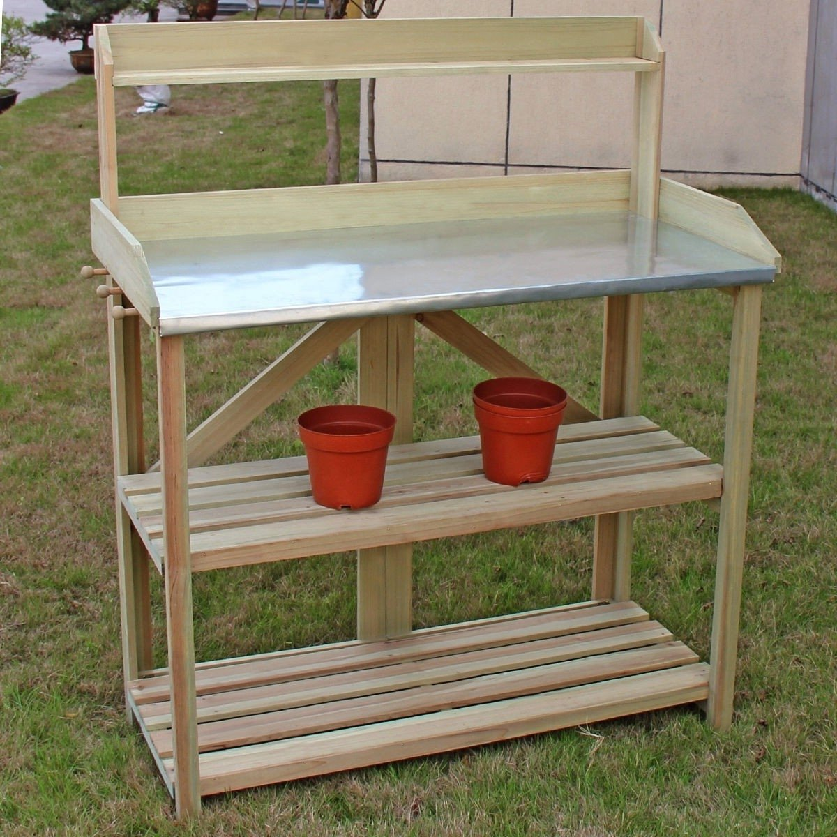 Outdoor Garden Workstation Potting Bench with Metal Top