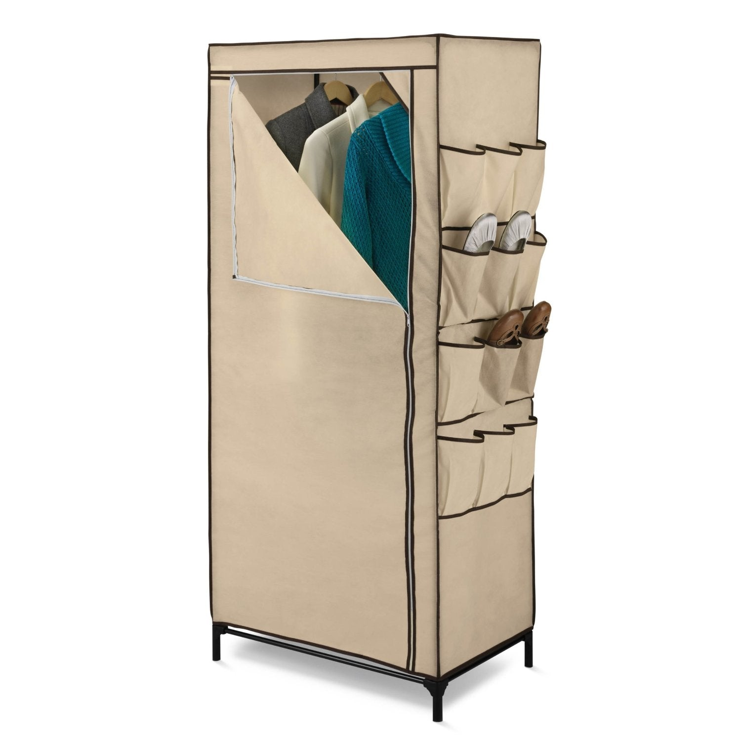Tan 27-inch Portable Storage Closet Wardrobe with Shoe Organizer