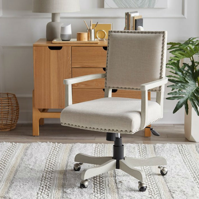 Oatmeal Linen Upholstered Adjustable Height Tilt Task Office Chair
