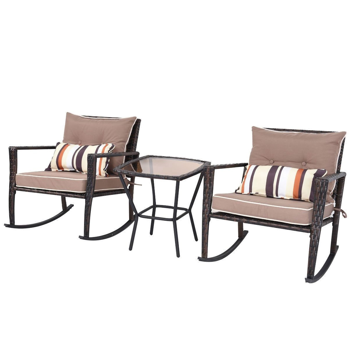 Brown 3 Piece Patio Set Rattan Wicker Rocking Chairs with Coffee Table