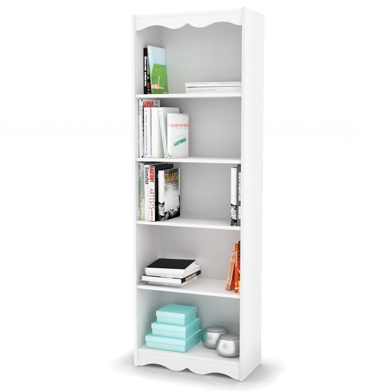 White 72-inch High Bookcase with Soft Arches and 5 Shelves