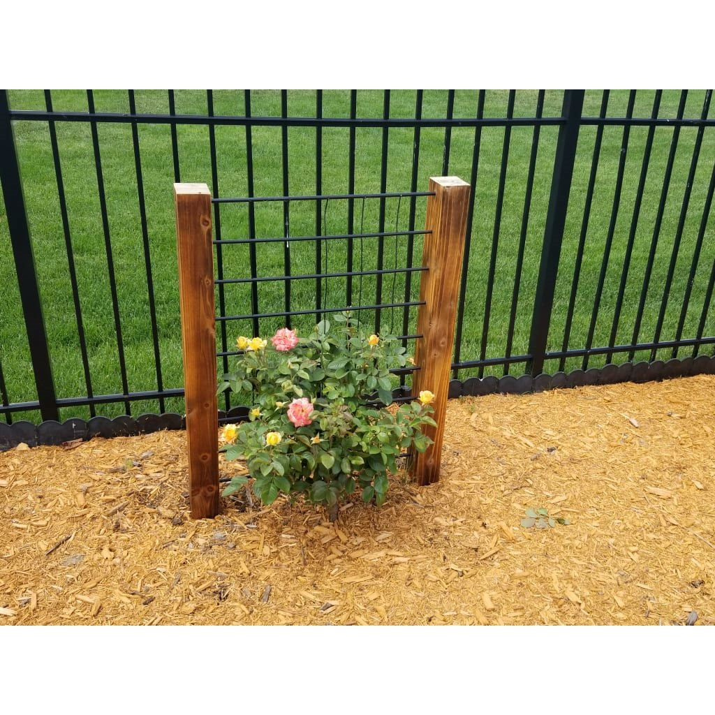 3-Ft High Sturdy Dark Wood and Steel Trellis