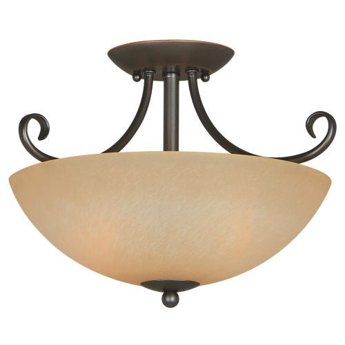 Ceiling Light Fixture 14.5 x 10-inch Classic Bronze with Amber Glass