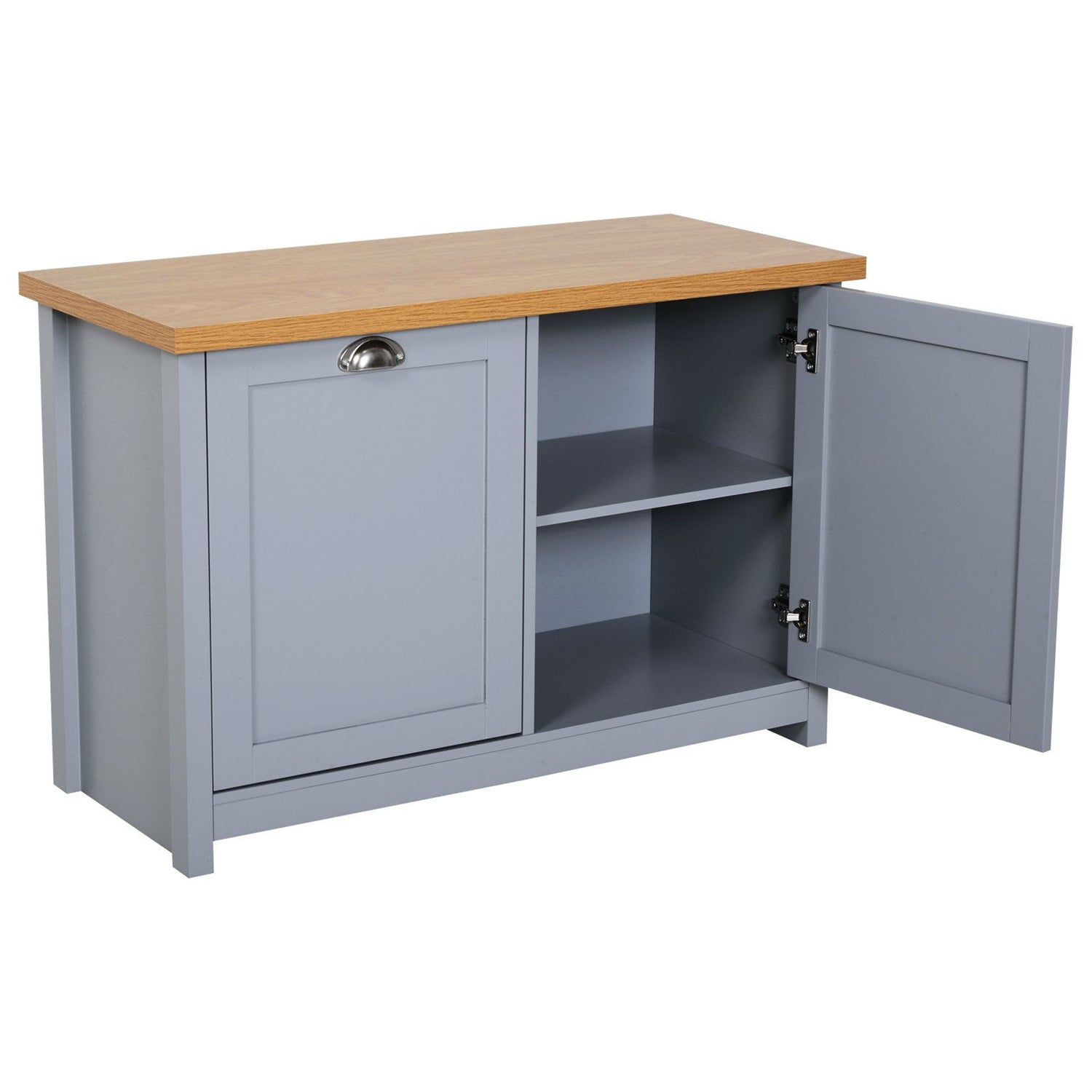 Gray and Oak Finish Wood Top Cabinet Entryway Storage Bench