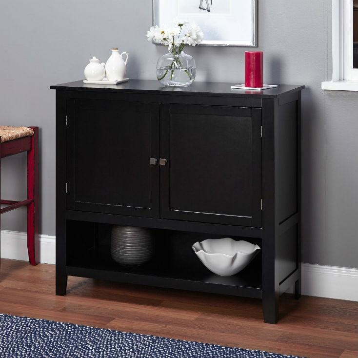 Wooden Buffet Sideboard Cabinet in Black Wood Finish