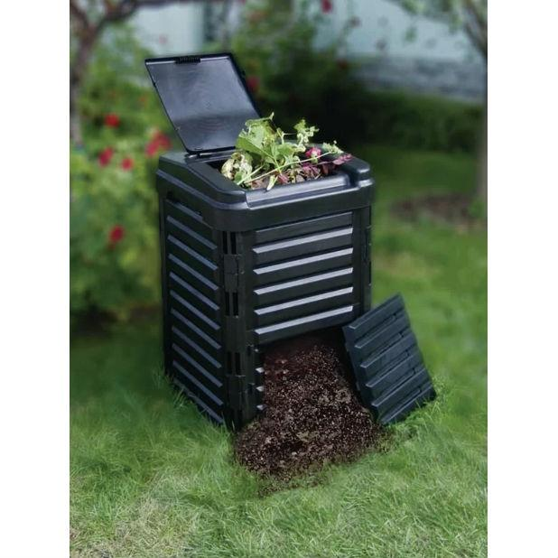 Heavy Duty Black Plastic Compost Bin for Home Garden Composting 80-Gallon