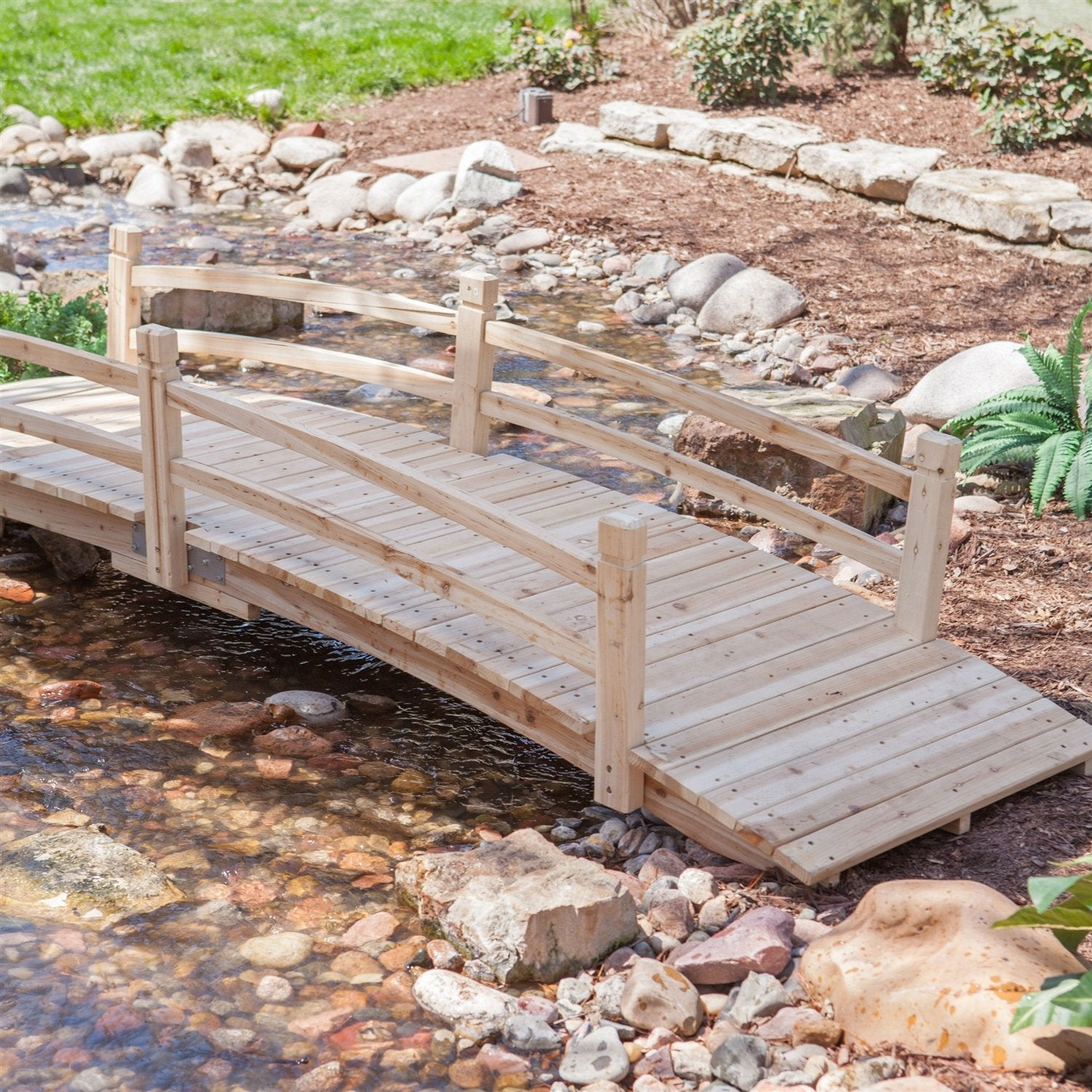 10-Ft Outdoor Garden Bridge in Weather Resistant Unfinished Fir Wood