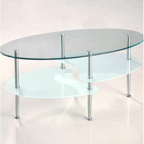 Modern Oval Glass Coffee Table with Chrome Metal Legs