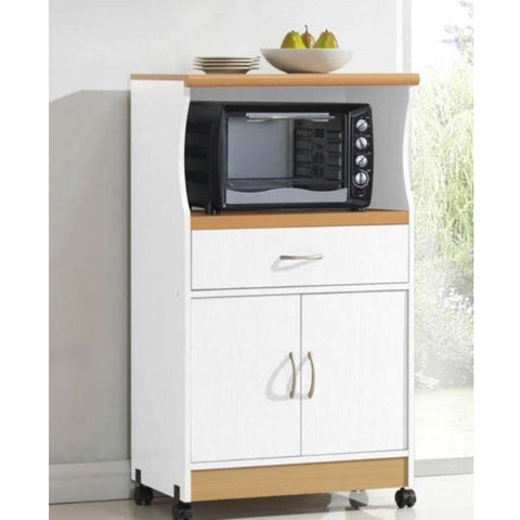 White Kitchen Utility Cabinet Microwave Cart with Caster Wheels