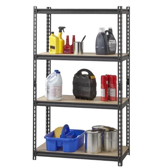 Heavy Duty 4-Shelf Black Storage Shelving Unit w/ 575-lb Weight Capacity