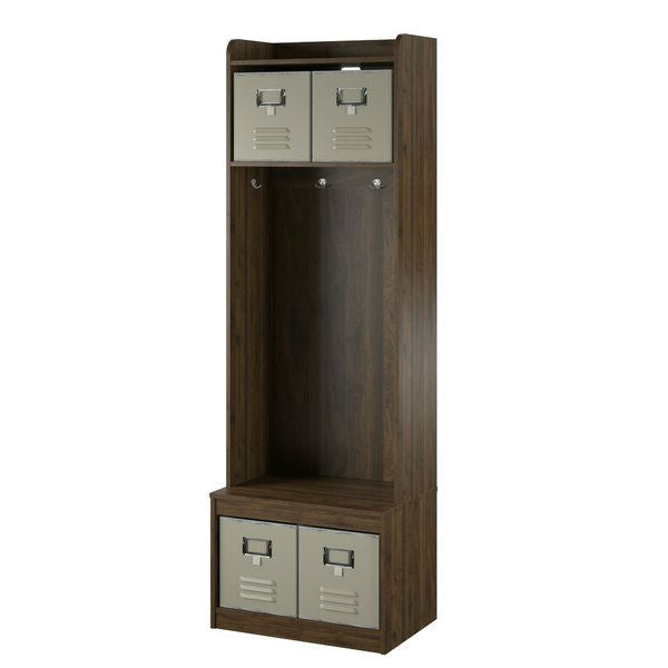 Walnut Locker Coat Rack Entryway Hall Tree with 4 Storage Cubes