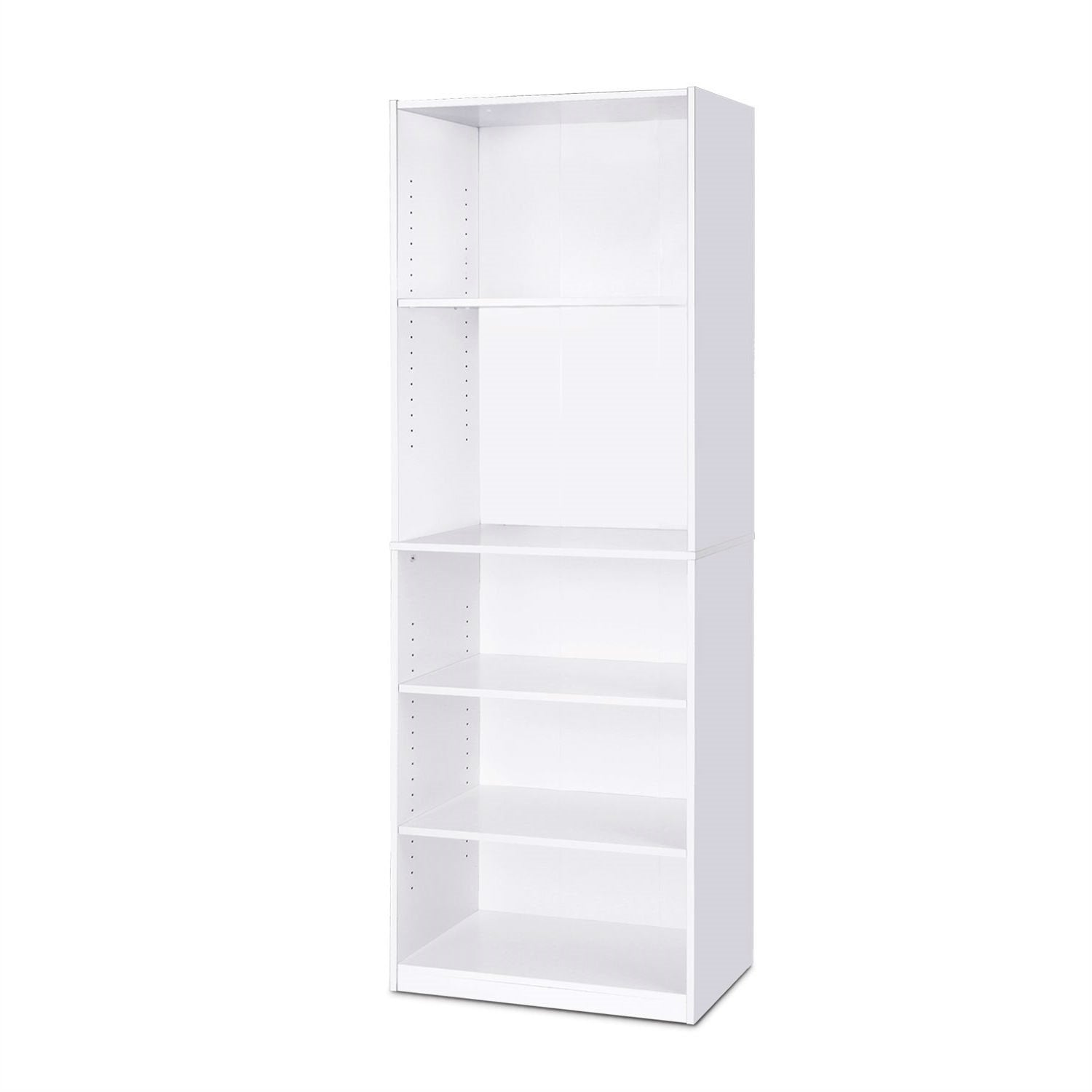 Modern 5-Shelf Bookcase in White Wood Finish