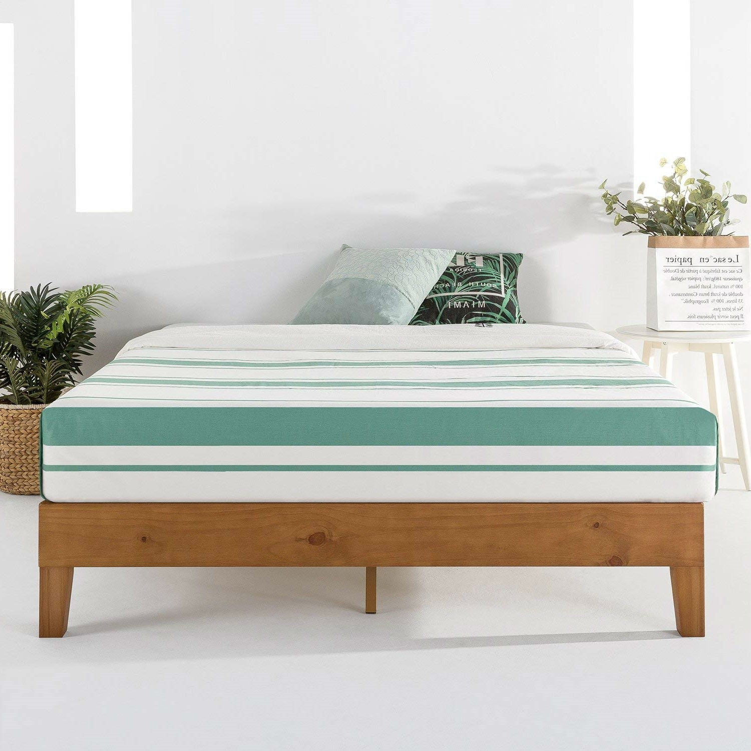 King Modern Classic Solid Wood Slat Platform Bed Frame in Natural Finish