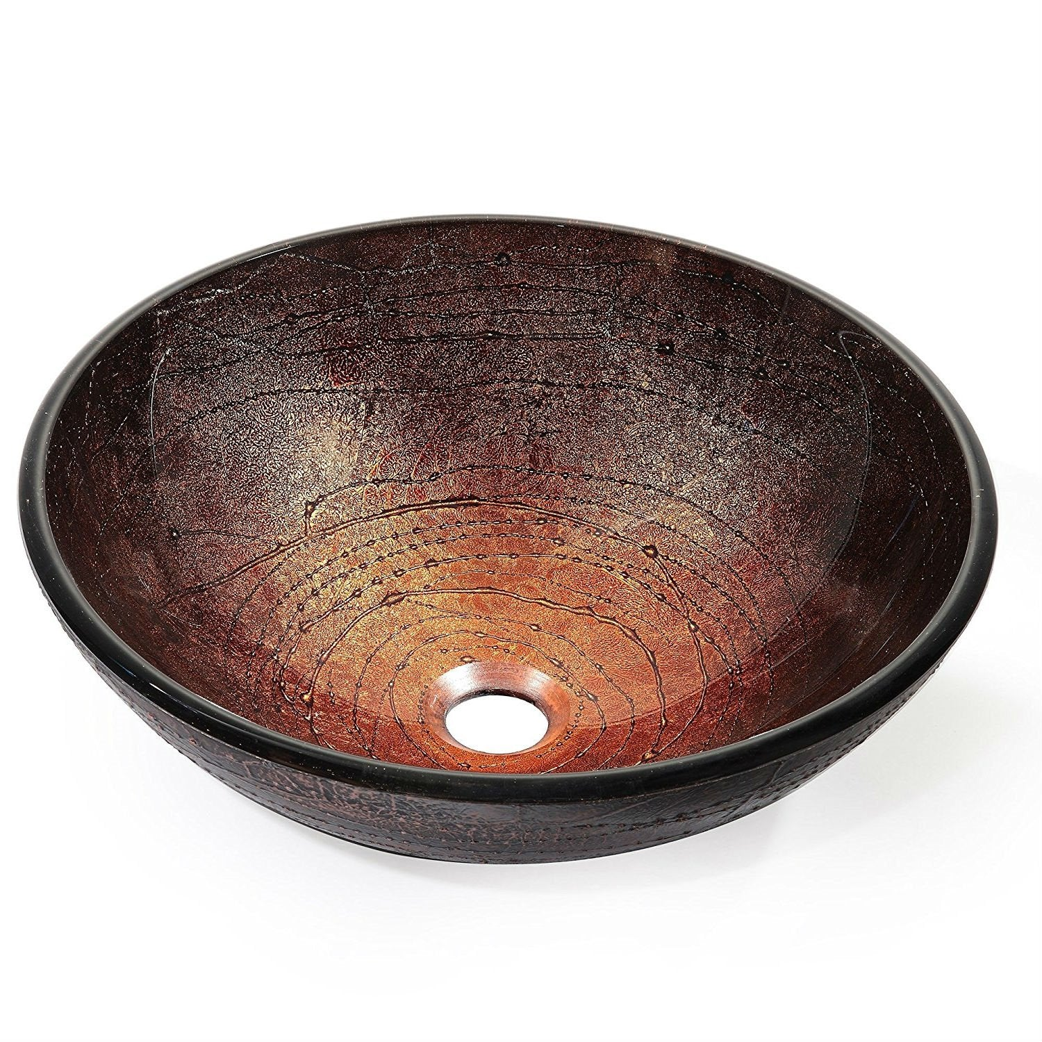 Modern 16.5 inch Round Copper Color Glass Vessel Sink